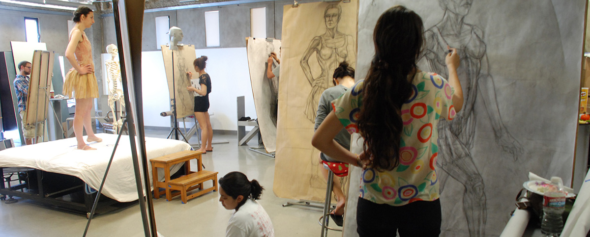 Otis Figure Drawing Students and model