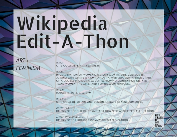 Art+Feminism Wikipedia Edit-A-Thon flyer