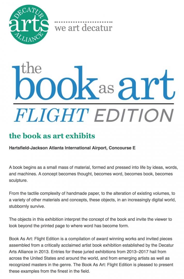 Book as Art Flight Edition, Decatur Arts Alliance, Hartsfield-Jackson Atlanta International Airport, October 2018—October 2019