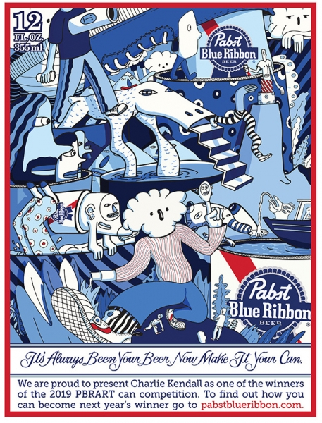 Kendall's Pabst Blue Ribbon can design