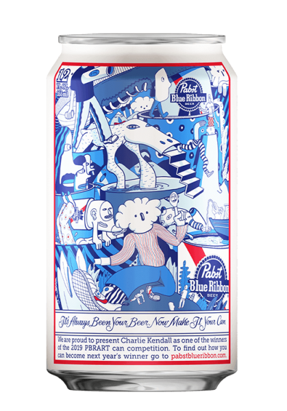 Charlie Kendall's Pabst Blue Ribbon can