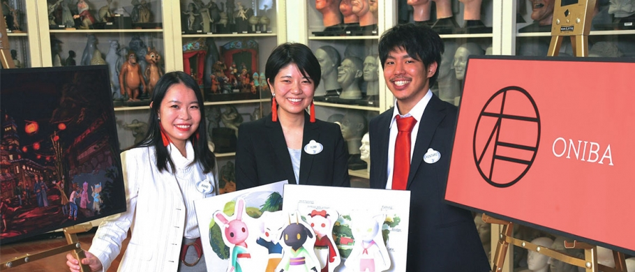 Kaho Horiuchi, Kentaro Yajima, and Yumi Yamazaki from Otis College of Art and Design placed third for Oniba.