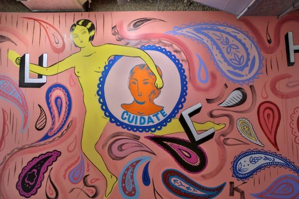 Detail of Enriquez's mural in Otis College's Ahmanson Hall.