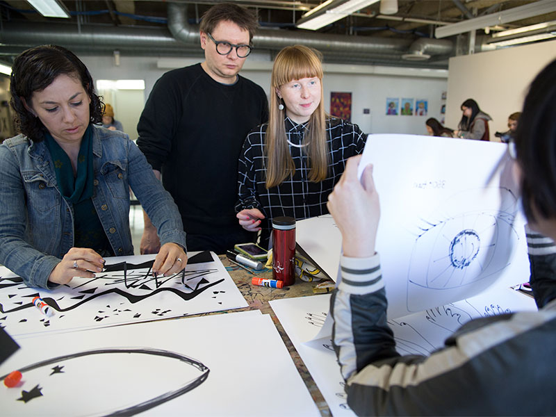Students working in the MFA programs at Otis College