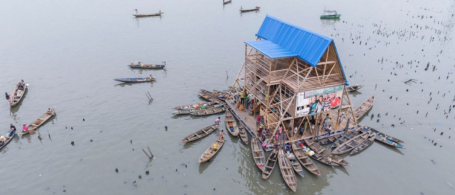 Makoko Floating School, Lagos, Nigeria, design by NLÉ, photographed by Iwan Baan
