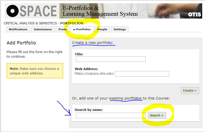 O-Space Help Add ePortfolio to CMS