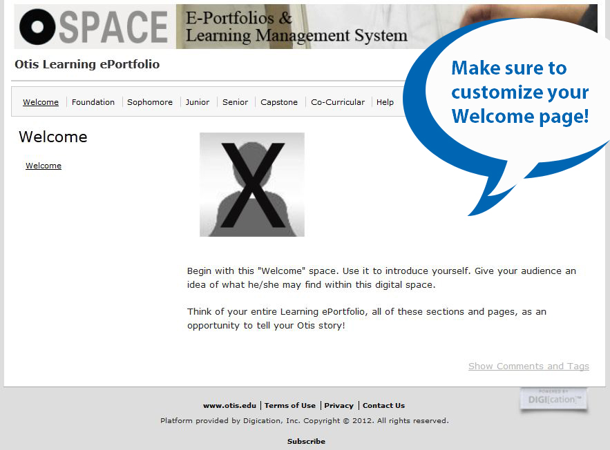 Customize ePortfolio