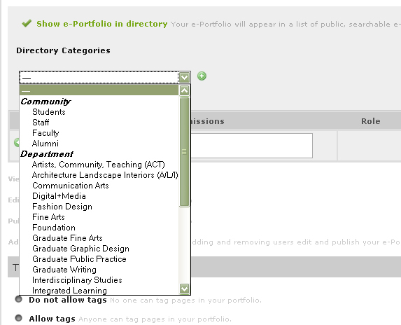 O-Space ePortfolio Categories