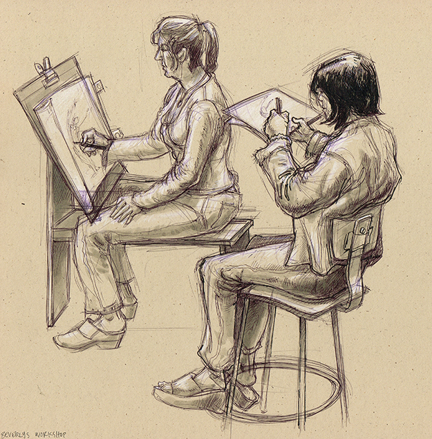 two students drawing