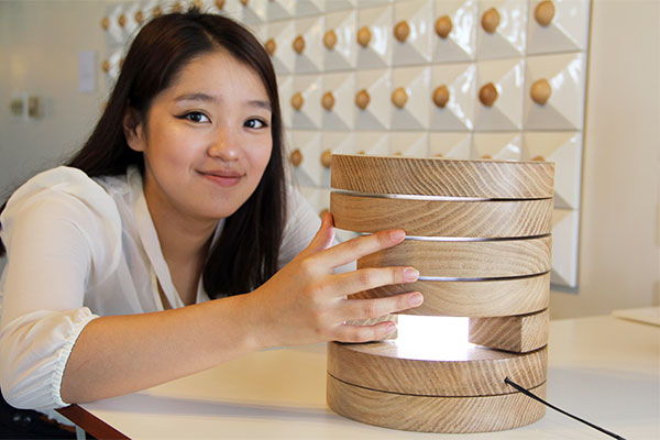 Product Design student with her work