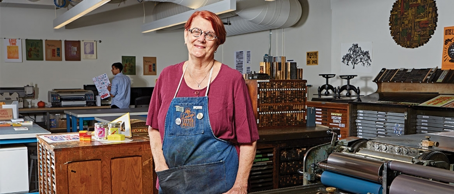 Portrait of Rebecca Chamlee in Otis College's letterpress studio