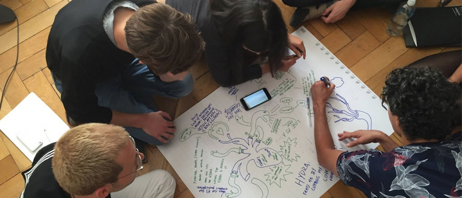 Participants collaborating at Saas-Fee Summer Institute of Art