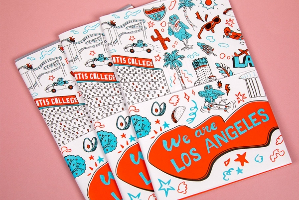 detail of the 2018 Otis College of Art and Design viewbook with illustration of Los Angeles