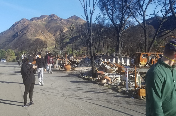 Studio 6 students visit Woolsey fire devastation near Agoura Hills, CA.