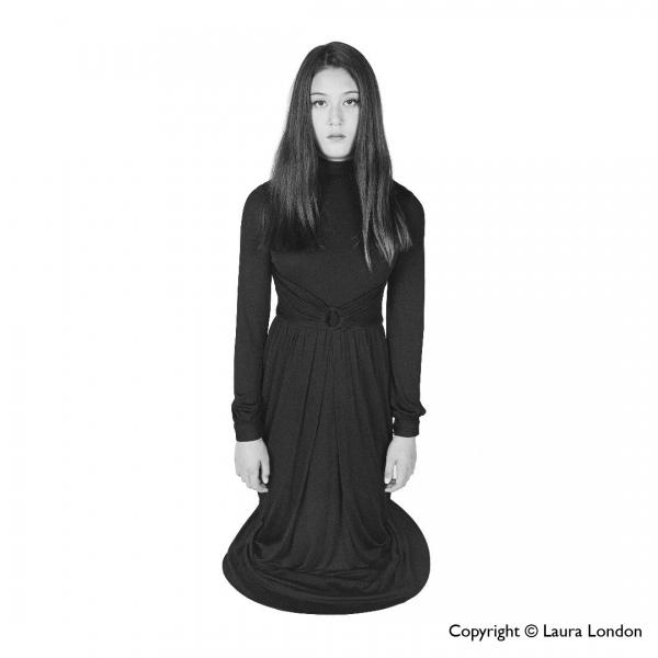 """Girl—Black Dress White Backdrop, 2015"" by Laura London"