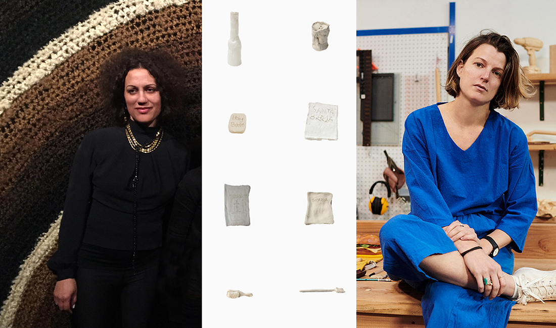 Portraits of two female artists on either side of ceramic sculptures made of objects police have mistaken for guns.