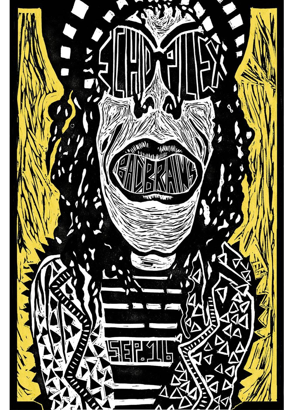 Punk Rock Reggae Band Poster Block Printing Printmaking