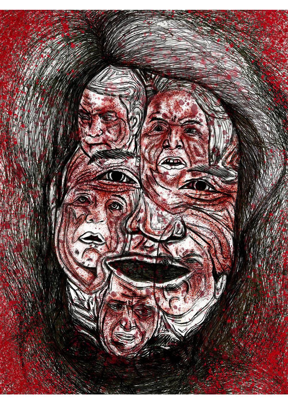 Brett Kavanaugh Many Faces Ballpoint Op-ed Gorry Art Disturbing