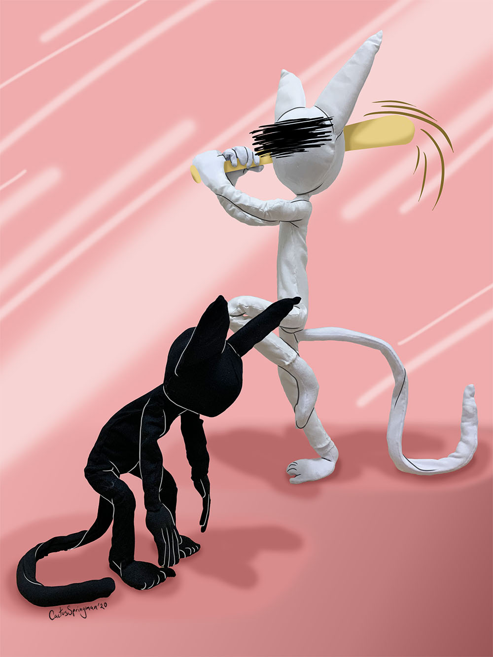 Title, Self Sabotage Brain Cats, by Cactus Springman. A photographic print of two soft sculptures, a black cat and white cat. The white cat is holding an illustrated baseball bat, about to hit the black cat, who is bending over in the foreground. The background is pink with lighter and darker shades.