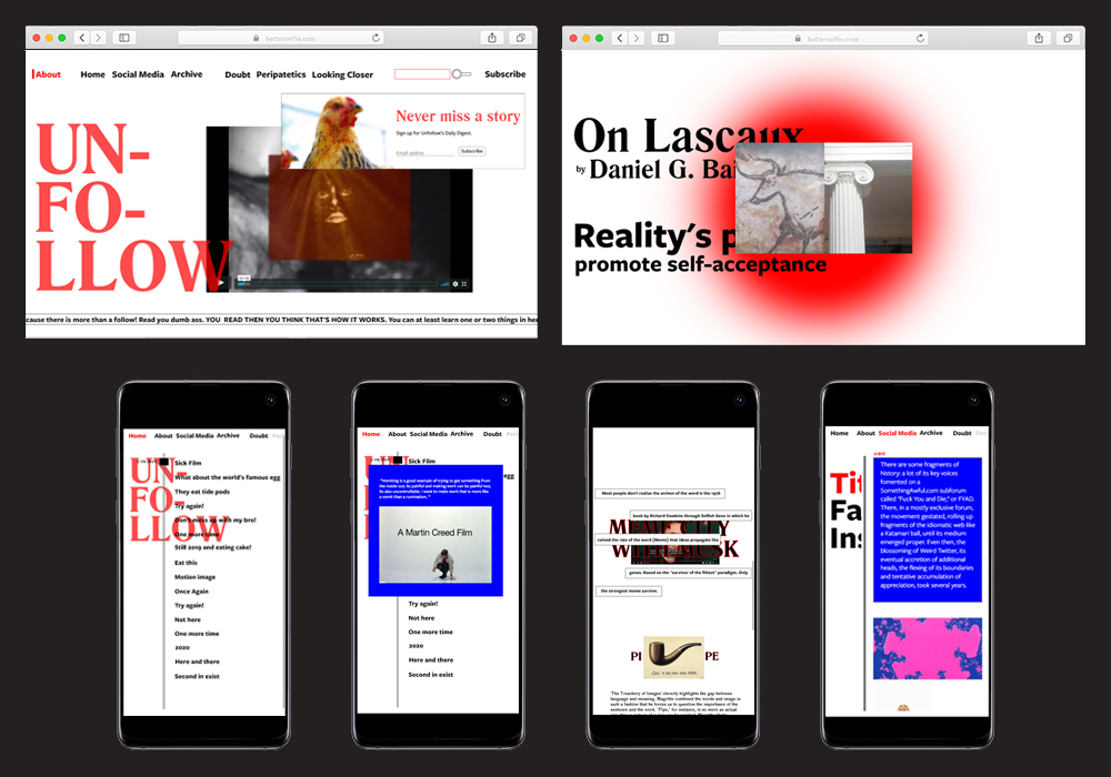 Unfollow is a proposal website that  operates as a critique of social media and the distortion, in reality, it produces on its users. This critique is through the lens of Art and Philosophy. Web Design. Motion Design.