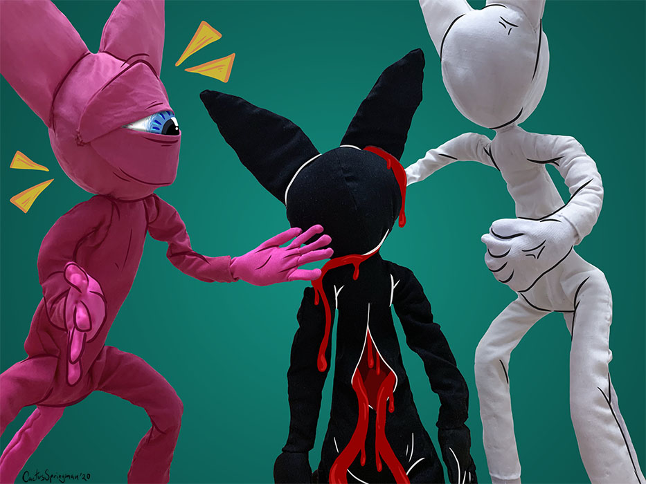 Title, Punched Out Brain Cats, by Cactus Springman. A photographic print of three soft sculptures, a black cat, pink cat, and white cat. The pink cat has a cyclops eye and is bending down, taunting the black cat, who is bloodied up and being held by the white cat. The white cat is looking down at the others, holding out a clenched fist. The background is greenish-blue.