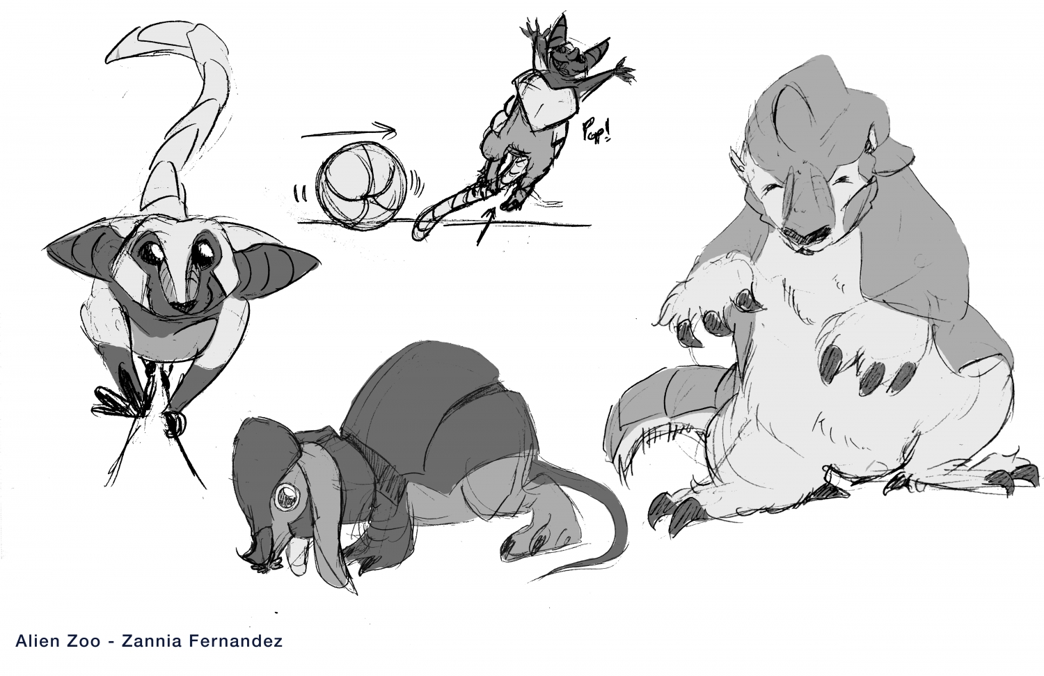 Three alien creatures designed for an interactive video game zoo