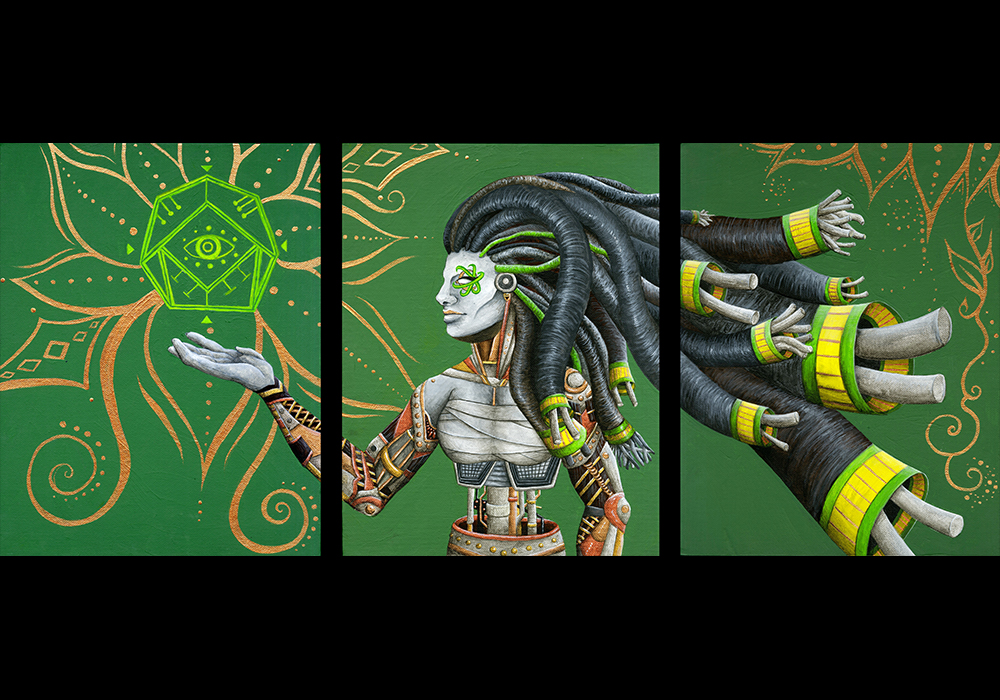 Robot acolyte of the New Gods of technology, in a world where old religion is being replaced by new deities created from what humanity now pours our collective attention into. Jessica Perkins, Jasper Perkins, Immerzart. Triptych. Acrylic. Artificial Intelligence, AI, steampunk, cyberpunk, sci-fi, science fiction, robot, new age, arcane, new gods, cyborg, sigil, occult