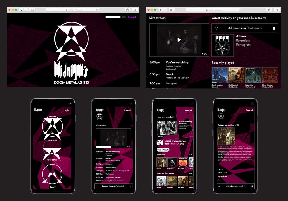 Midnight's Doom Metal is a music streaming service specializing in doom metal. The service allows you to follow your favorite bands and at the same time learn the history of the movement by watching their live streaming programming. Website design. User interface. Identity system.
