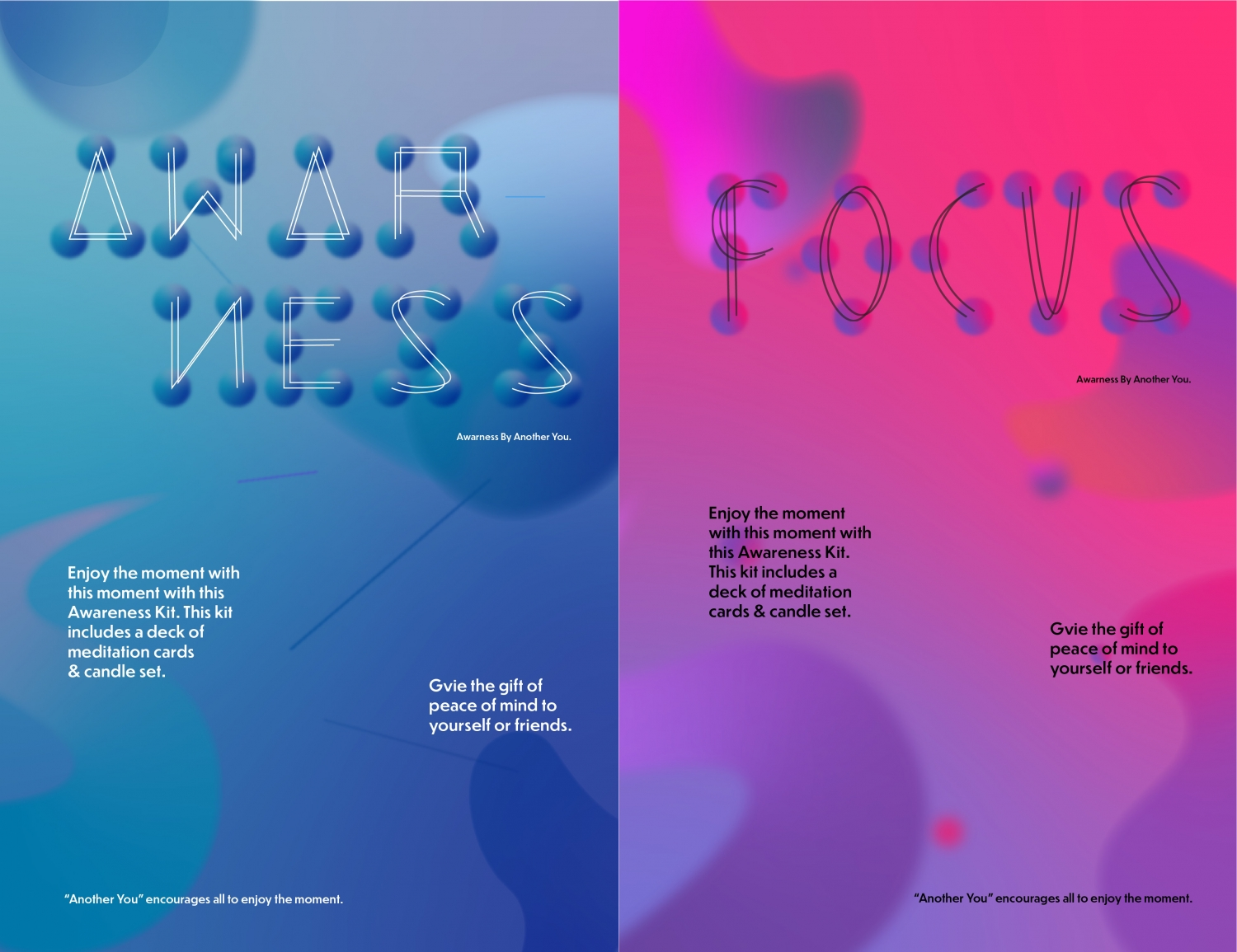 """Series of poster for """"Another You"""" kit. Giving small description about relaxation kit."""