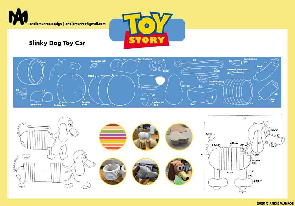 Slinky Dog Pull Toy Car