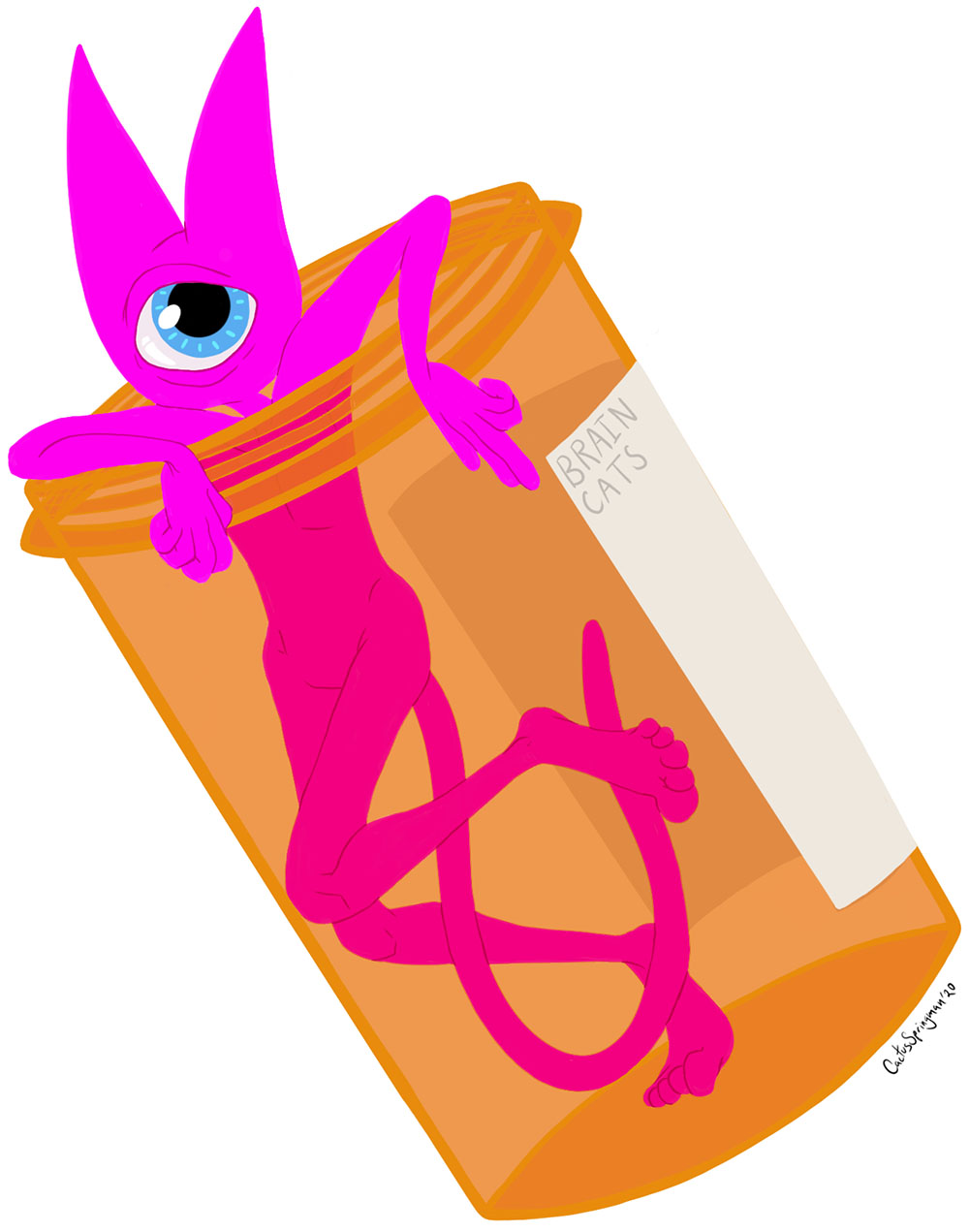 Title, Take Your Meds, by Cactus Springman. A digital illustration depicting a lithe pink cat with human features standing inside an orange medication bottle. The bottle lid is off, so the cat has their head and arms sticking out, resting on the rim. The pink cat has a blue cyclops eye.