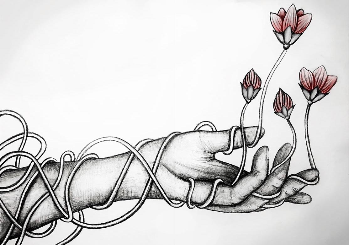 This work shows a black and white pencil drawing of an outreached hand. The arm is wrapped in wire-like vines, that lead up the arm and to the hand where the vines then sprout upward into small flowers that are very light pink, to show the life that comes with growth.