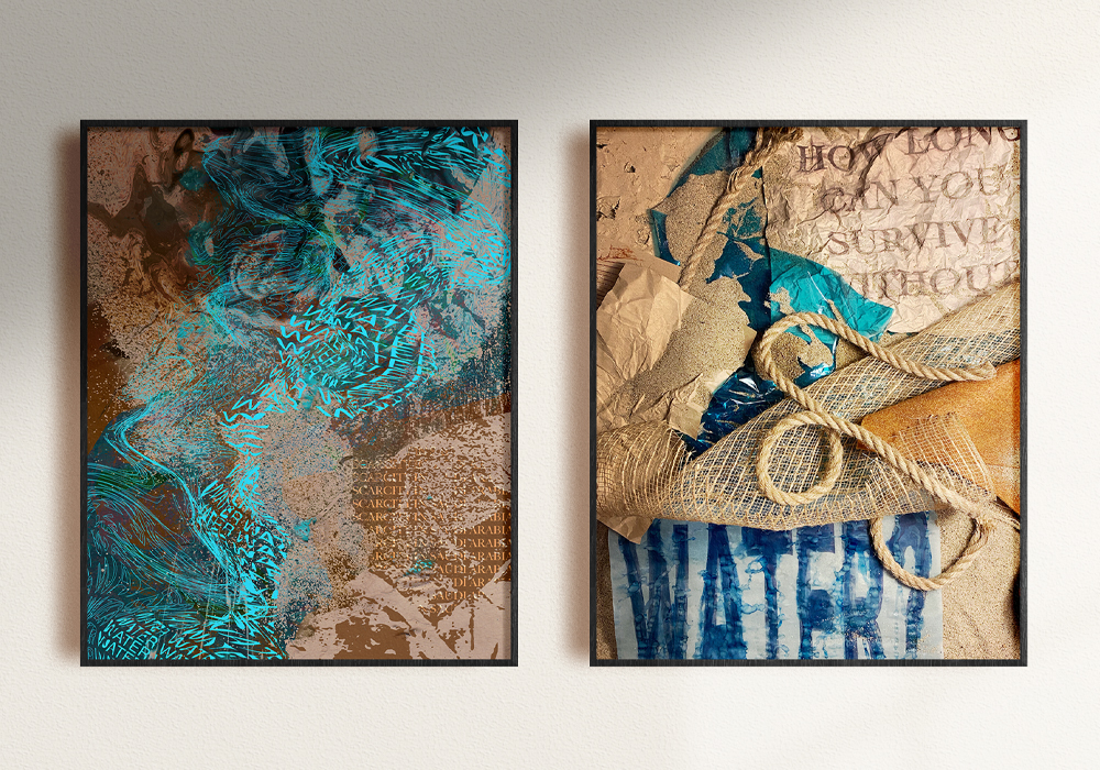 Water Is a set of two posters to show The importance of Water by using two different processes. Digital vs Analog  Lulu Alghofaili ,Graphic design, Los Angeles