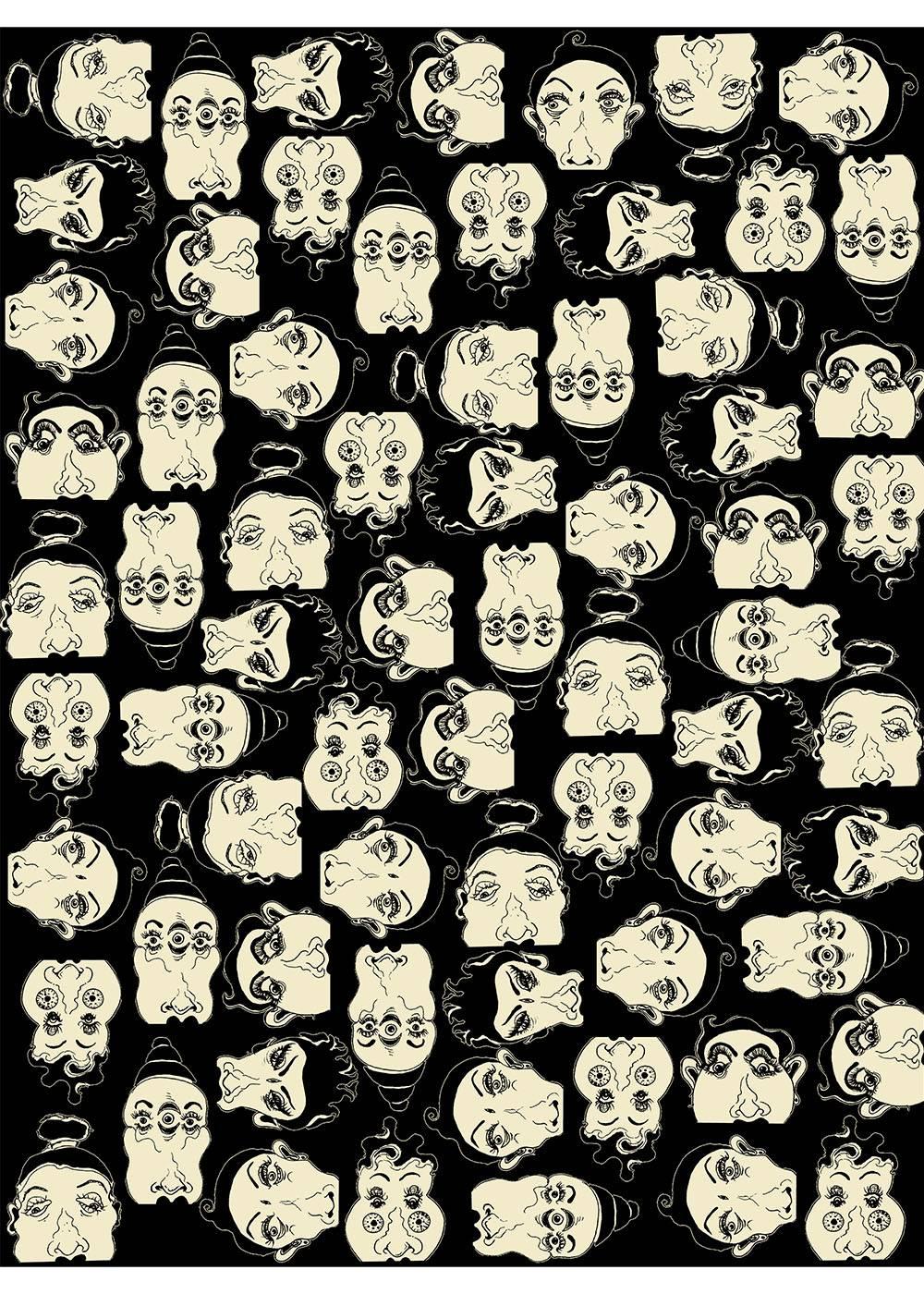 Friends Faces Pattern Art Design Textile
