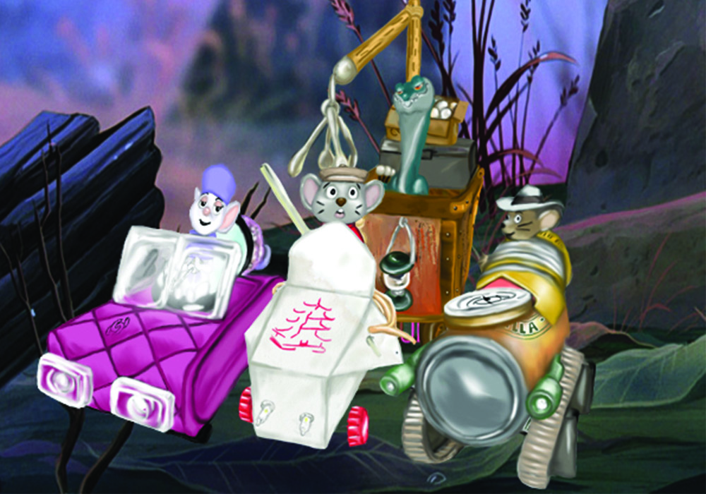 The Rescuers Down Under Mouse Mobiles - Digital illustration with background from The Rescuers Down Under