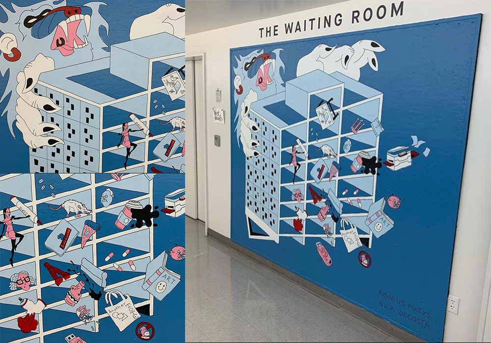 """Mini-Mural for the """"Waiting Room"""" series at the Communication Arts floor at Otis college. Collaboration with Nick DeCosta."""