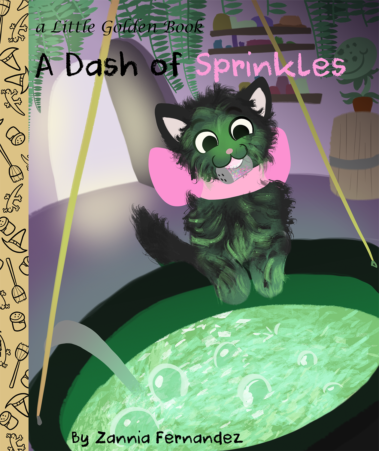 A black kitten standing over a bubbling cauldron putting sprinkles in the brew while her witch owner is away.
