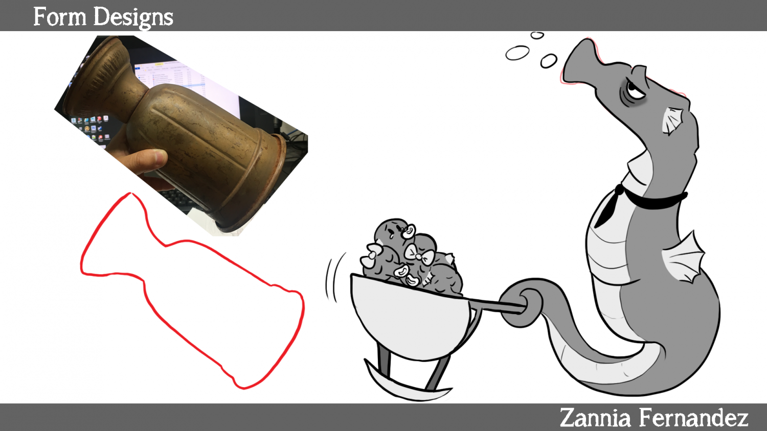 An image of an object is outlined and then a character is made from that outline.