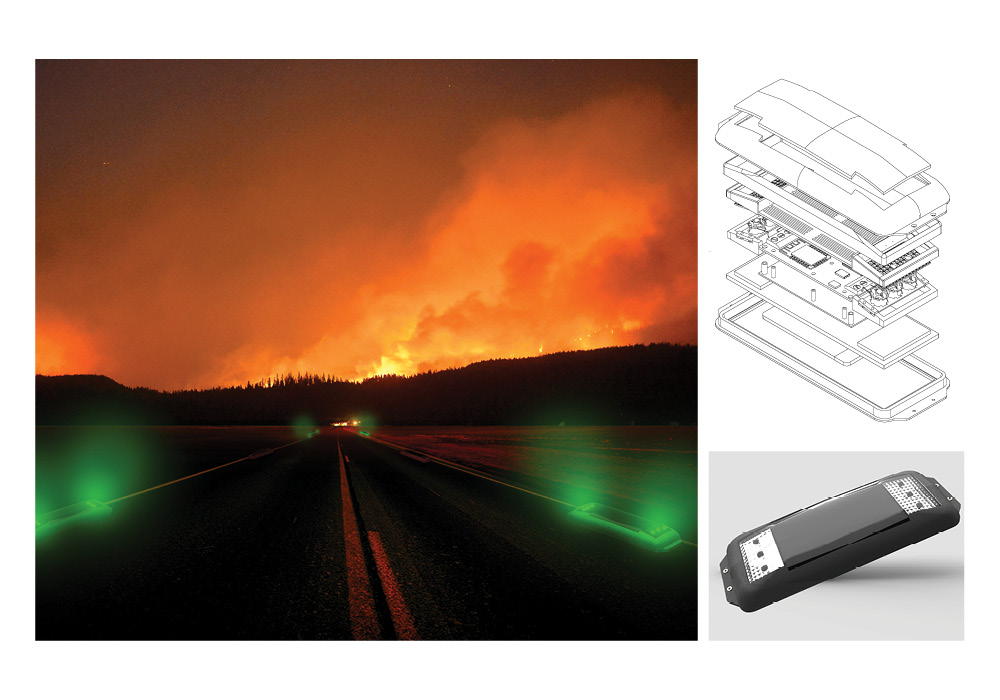 Wildfire Evacuation System guides residents out to safety from oncoming wildfires.
