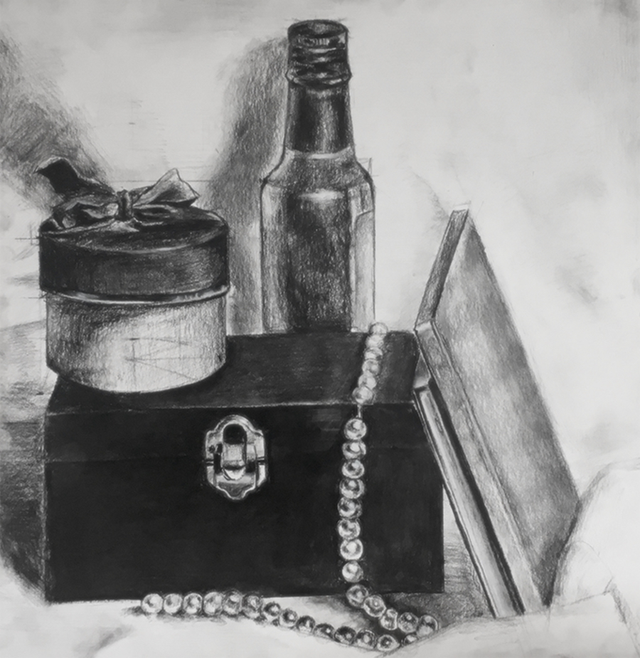 Charcoal still life of pearls, box, bottle of cooking oil, small circular box tied with a bow,  and albums stacked against the box.