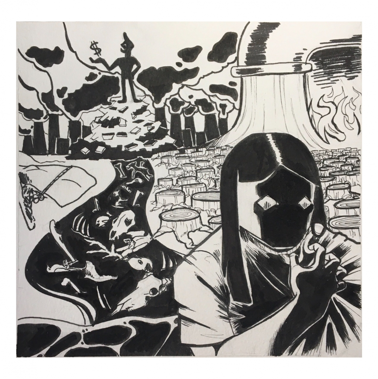 Black and white ink square drawing