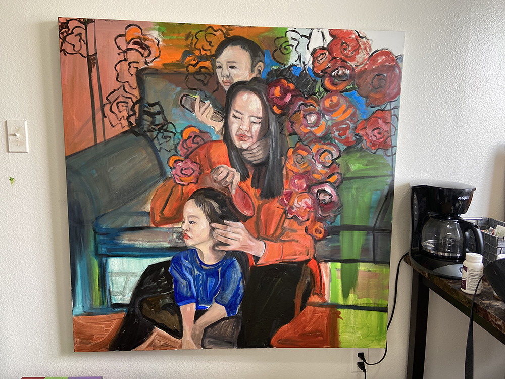 Painting of woman brushing hair of young girl.