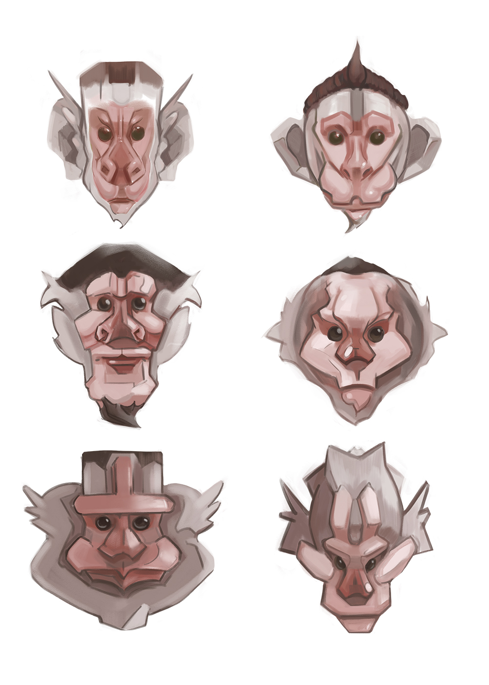 Six ideations of monkey faces.