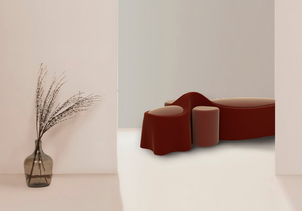 This velvet couch was inspired by late 70's eccentric curvaceous furniture.