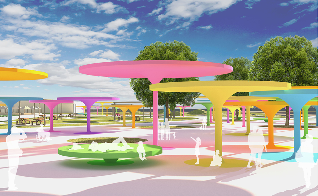 Ujima Village Park - Exterior Rendering of Canopies