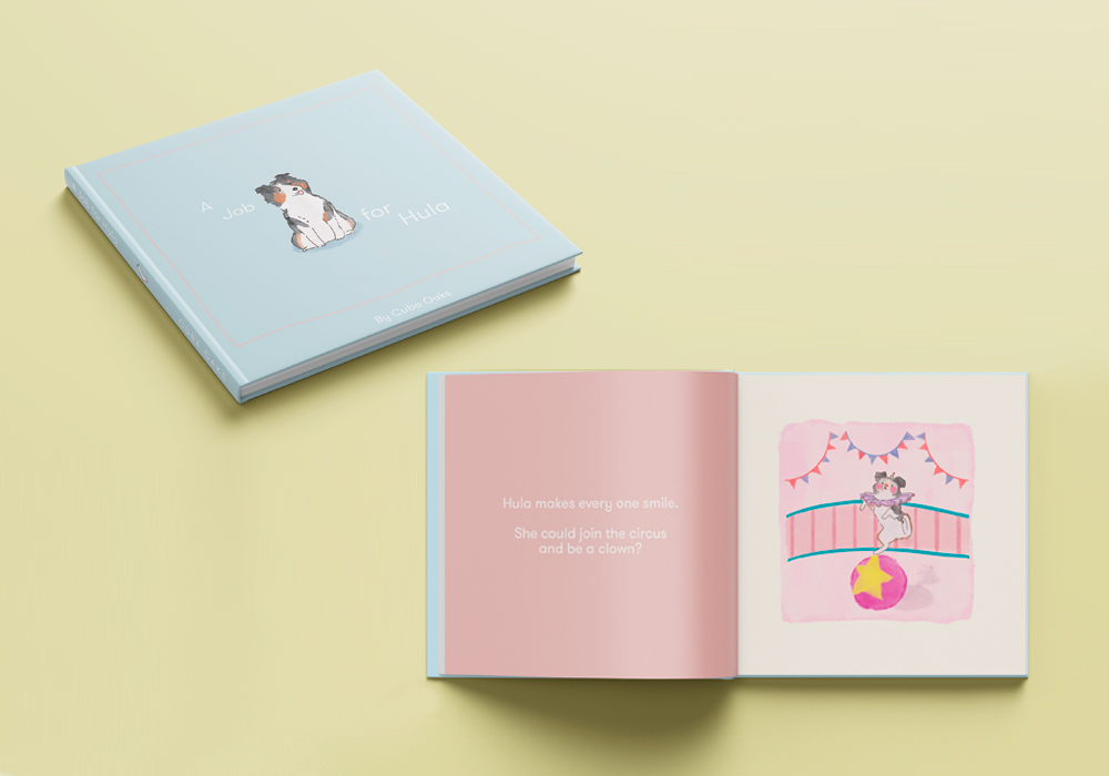 Small illustrative book about a service dog named Hula. Cuba Oaks Illustration Graphic Design Los Angeles A Job for Hula Otis Book Photoshop