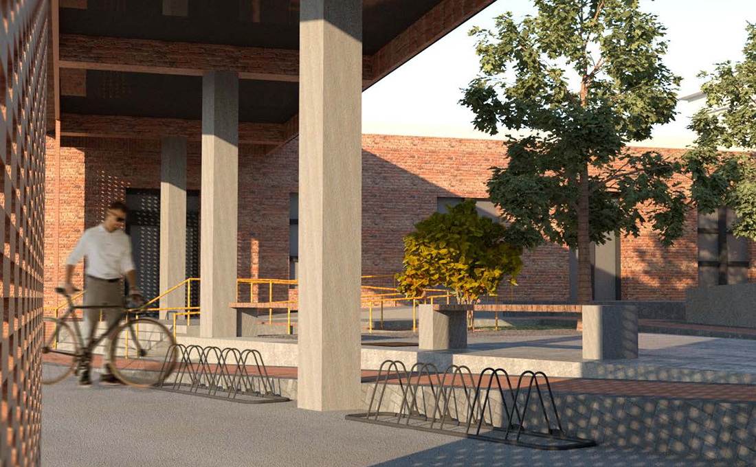 Perloff Hall Courtyard rendering, showing the entrance to the courtyard.