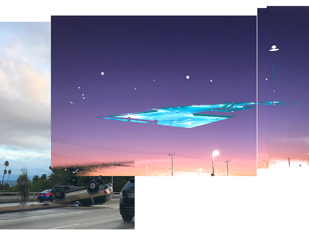 Blue Swimming pool, Sunset, Car Crash