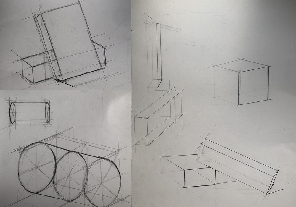Sketches of boxes and cylinders in various perspectives.