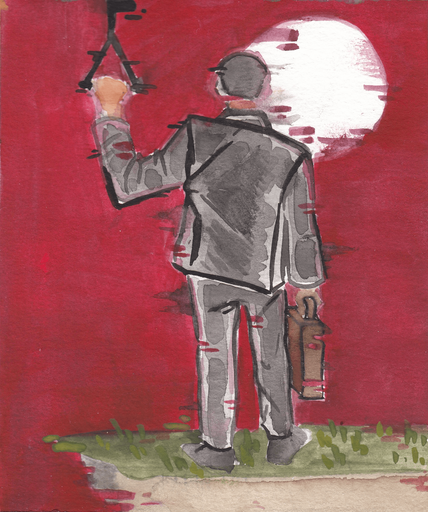 Red background with a back view of a man